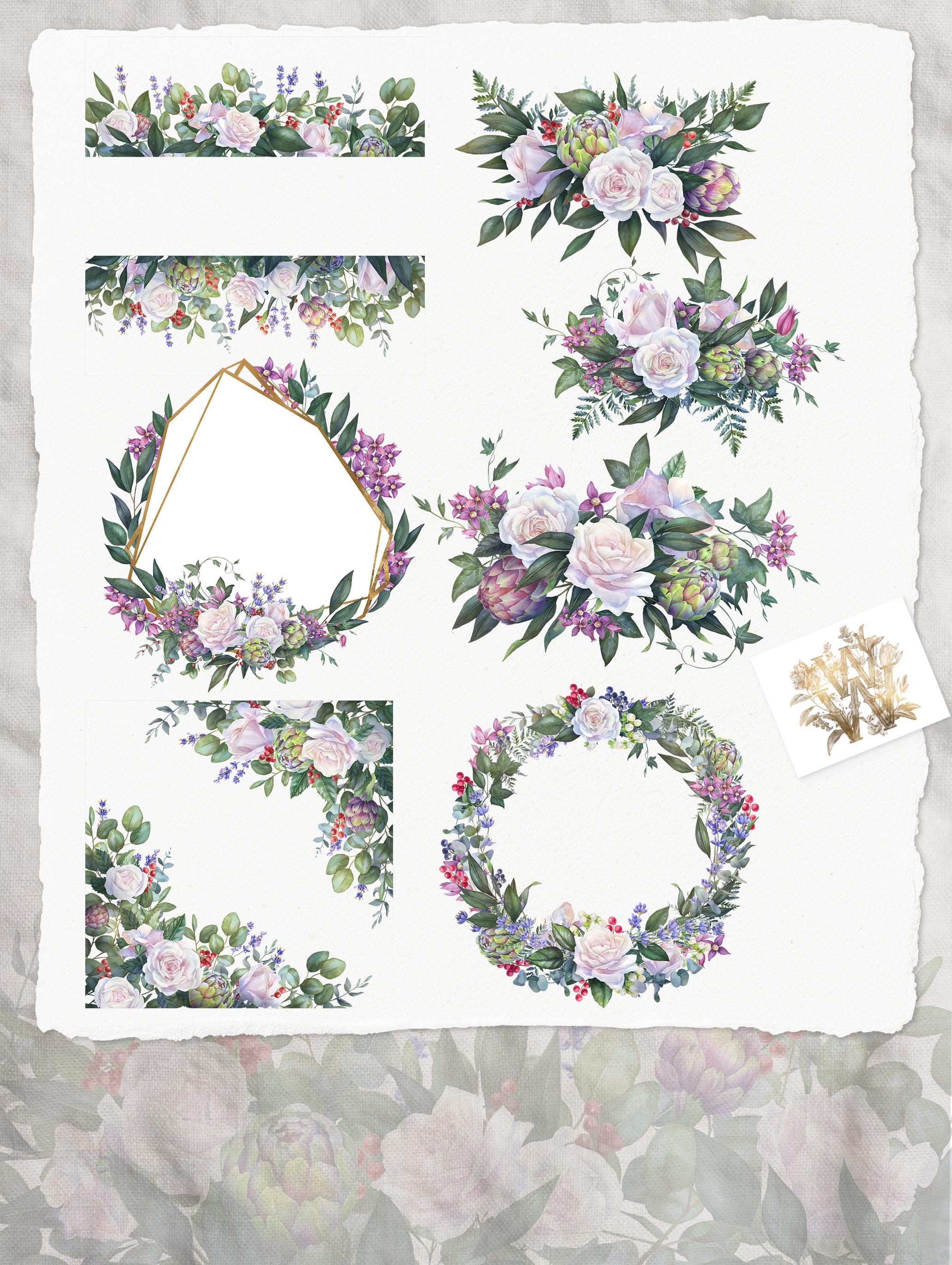 White rose wedding frame clip art example image 2