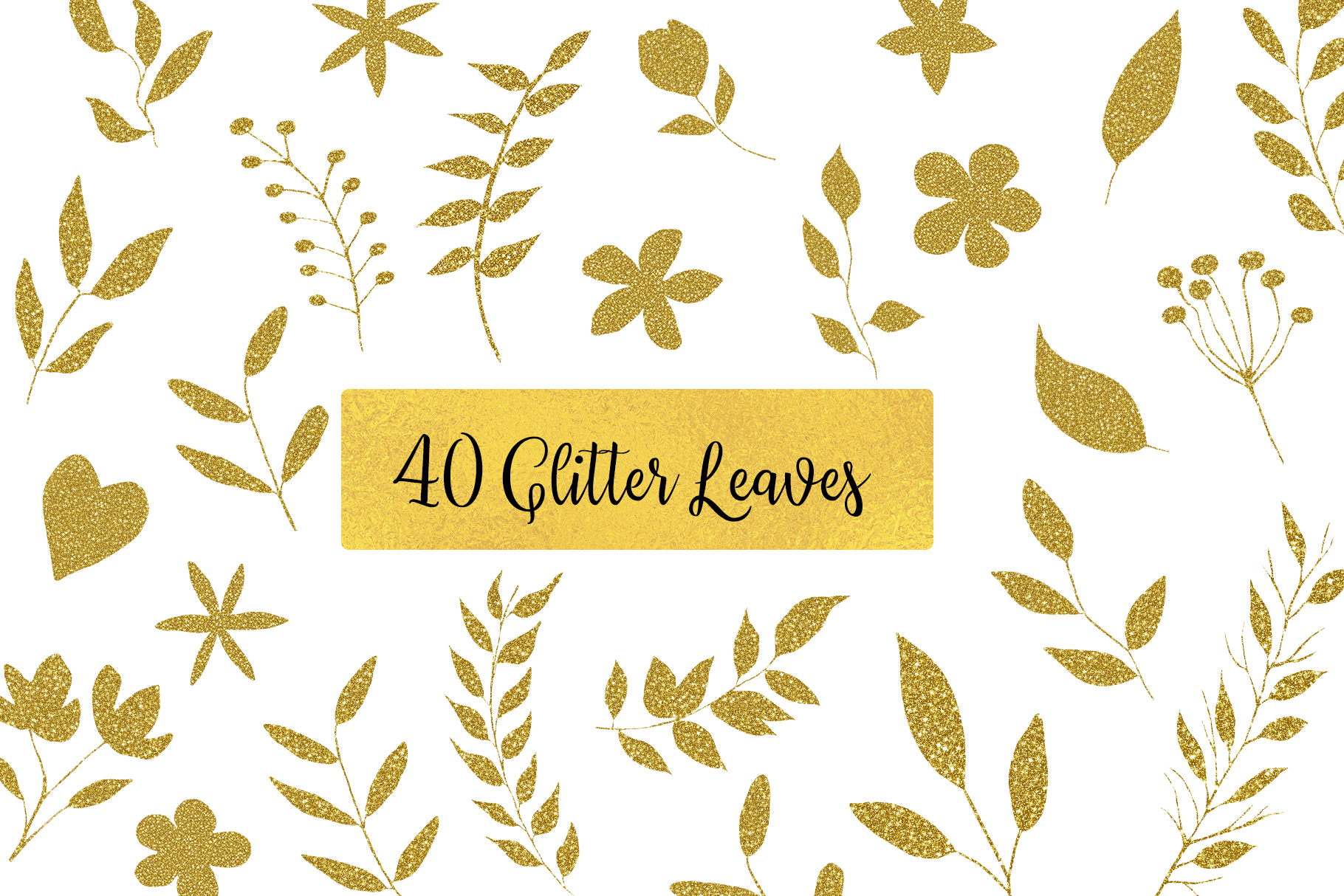 Gold Glitter leaves clipart, Floral Glitter Clipart example image 1