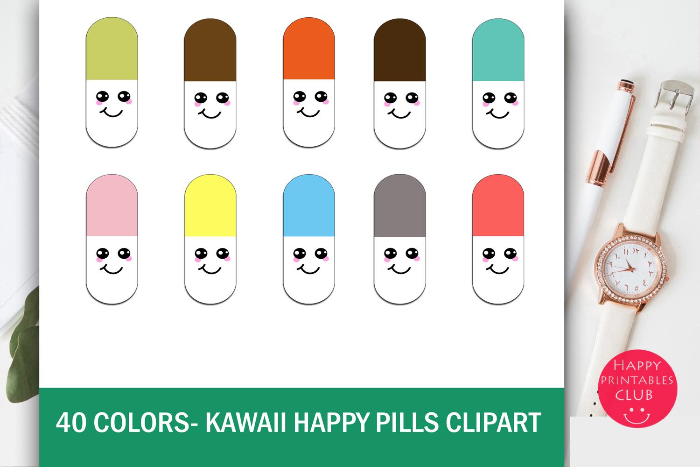 40 Colors Kawaii Happy Pills Clipart example image 1