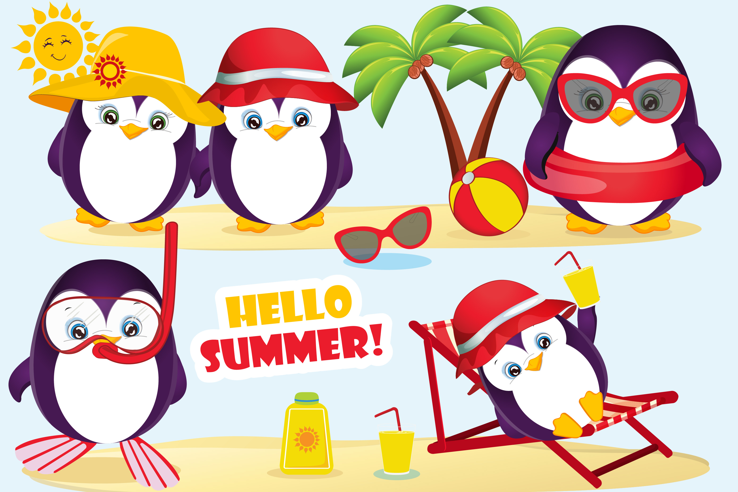 Summer penguin clipart, Summer penguin graphics