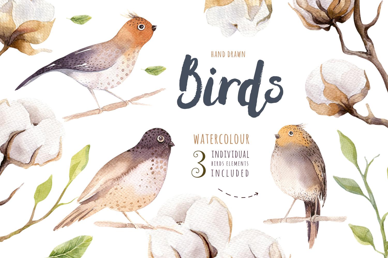 Watercolour cotton & birds example image 4