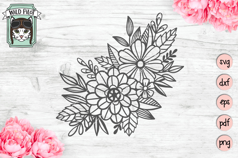 Flowers SVG file, Floral cut file, Flower Accent, Bundle example image 2