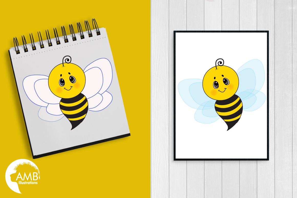 Bumble bee cliparts, graphics, illustrations AMB-921 example image 3