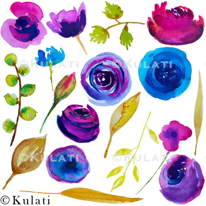 Watercolor Floral Clipart example image 3