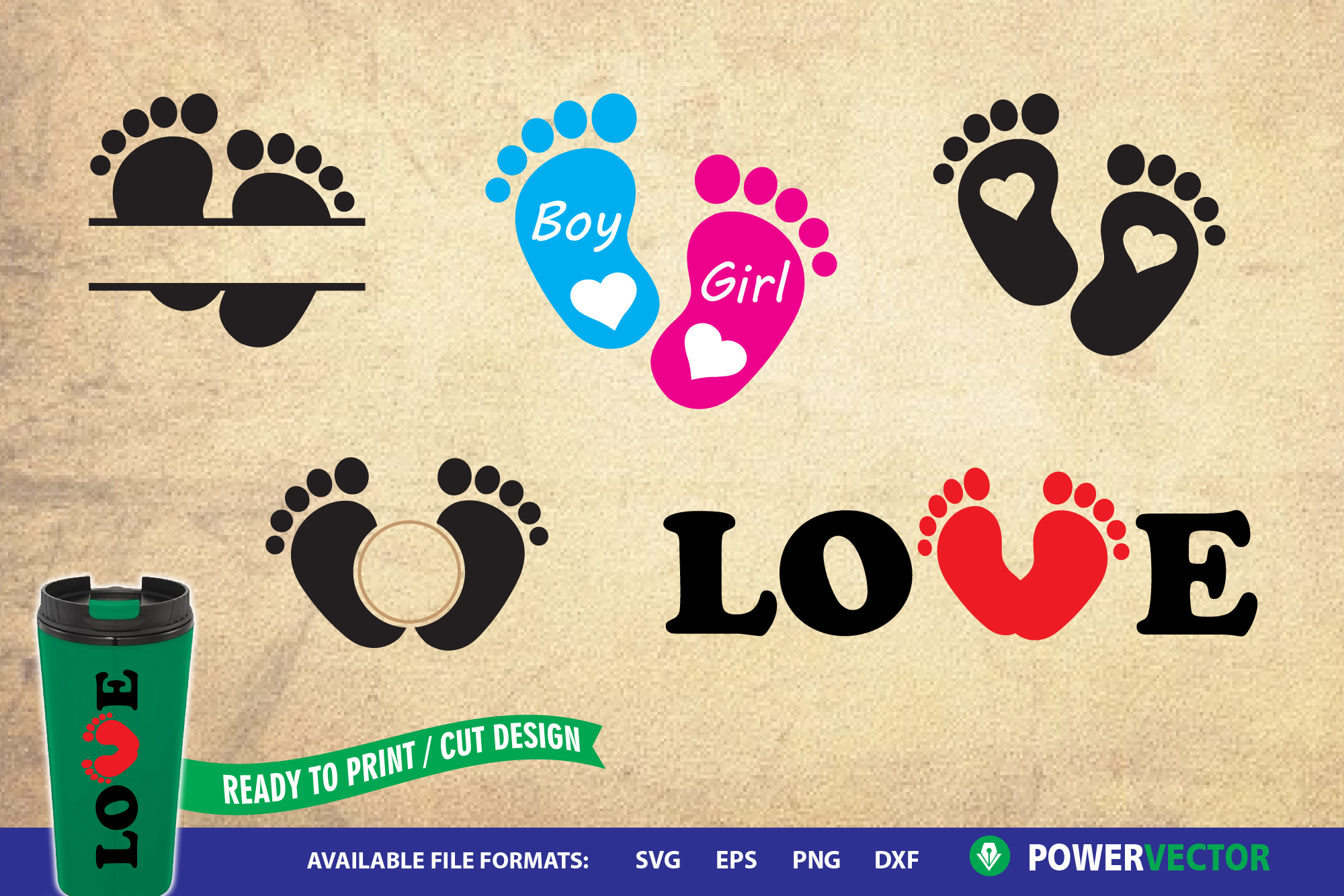 Baby Foot Prints | Baby Feet Clipart - SVG, DXF, EPs Files example image 1