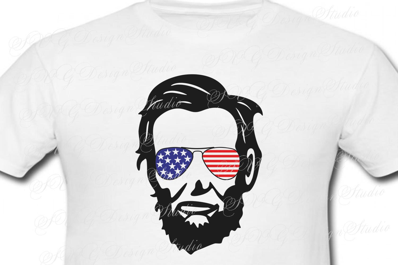 Abraham Lincoln Head, SVG Vector file, Abraham Lincoln svg,  Lincoln head Sunglasses svg, Fourth of July Patriotic SVG Sunglasses Svg Glasses Svg example image 3