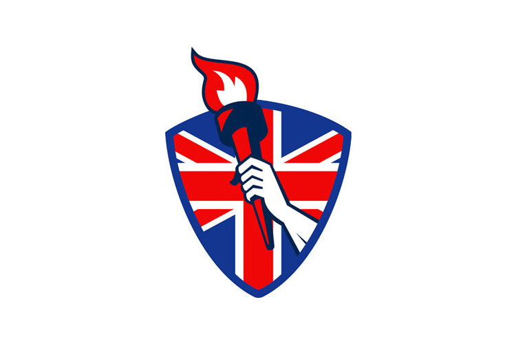 Hand Holding Flaming Torch British Flag example image 1