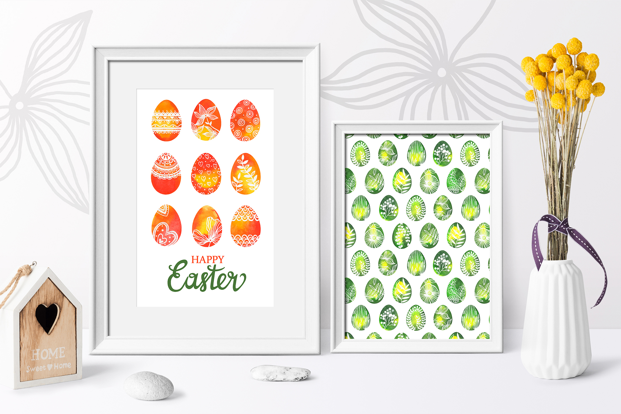 Watercolor Easter eggs, patterns example image 7
