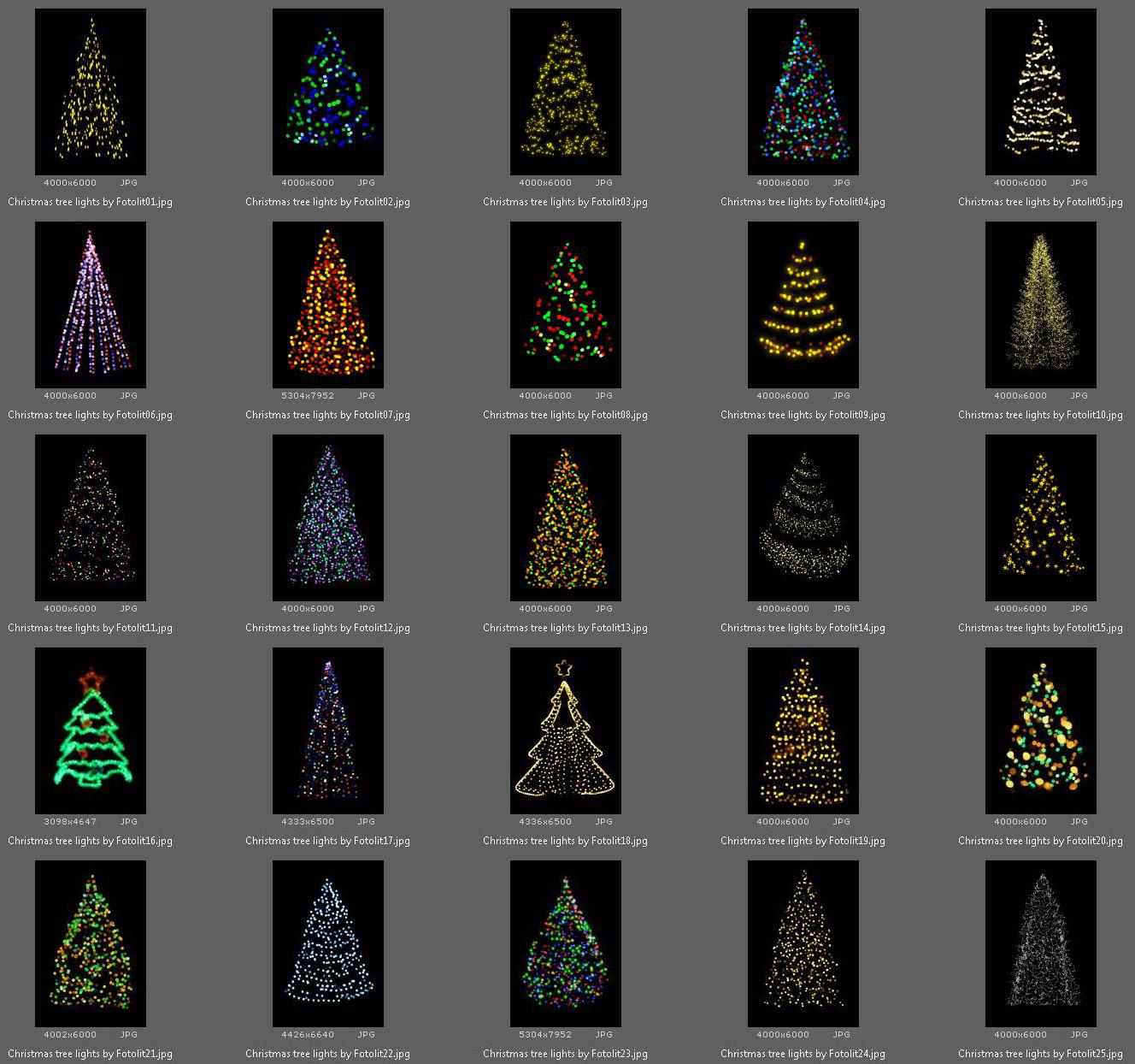 25 Christmas Tree Lights Overlays example image 4