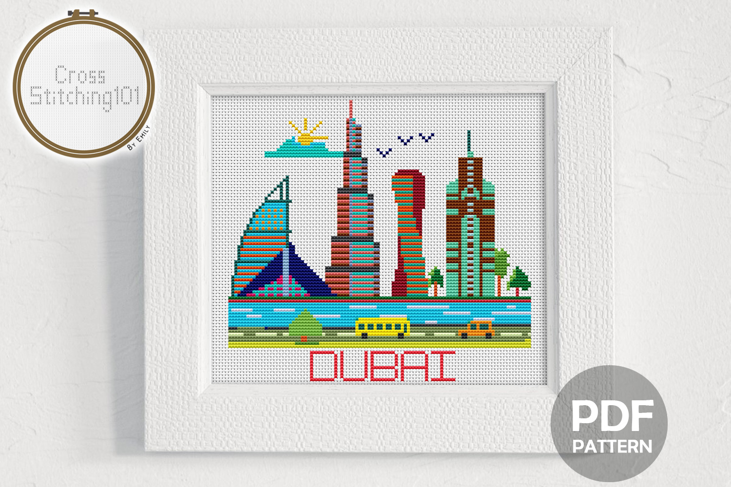 Dubai City Modern Cross Stitch Pattern- Instant Download PDF example image 1