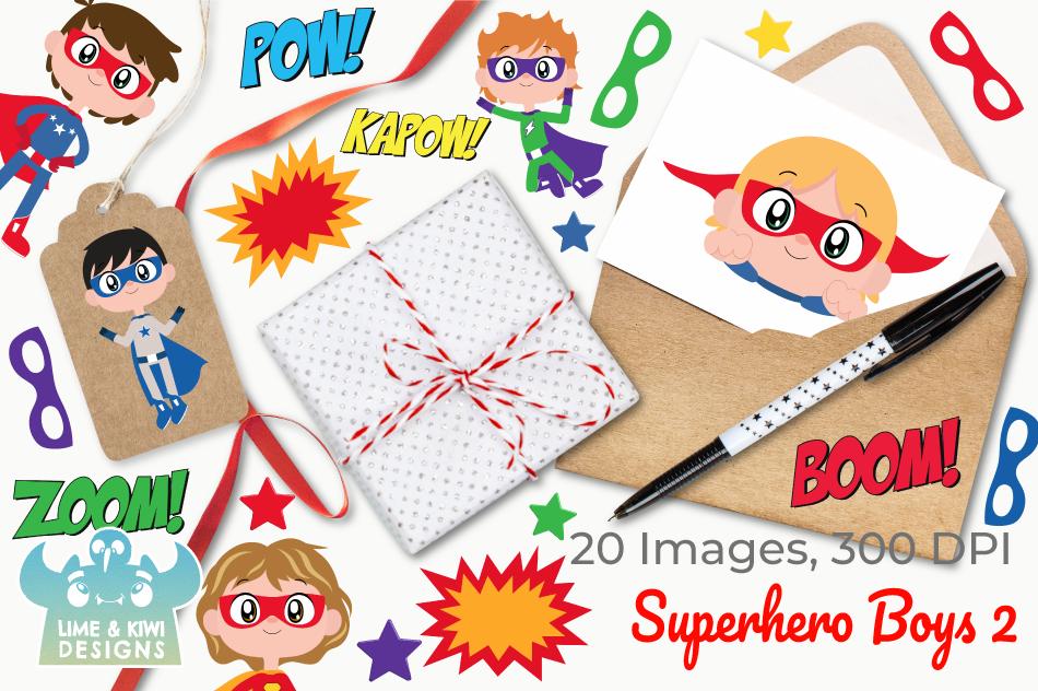 Superhero Boys 2 Clipart, Instant Download Vector Art example image 4