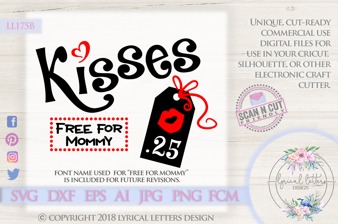 Kisses .25 Cents Valentine's Day SVG DXF Cut File LL175B example image 1