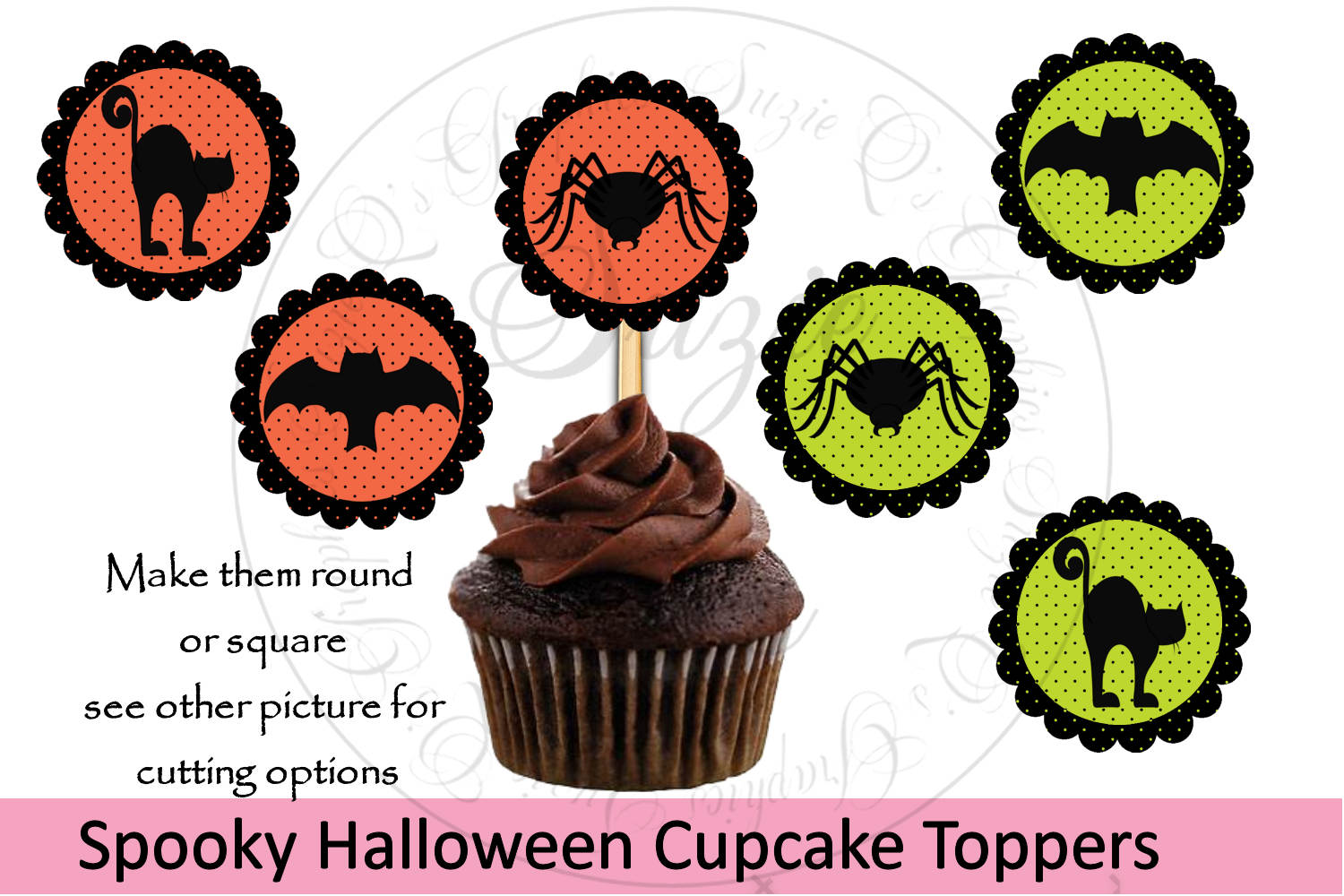 Spooky Halloween Cupcake Toppers - 4 cutting options example image 1