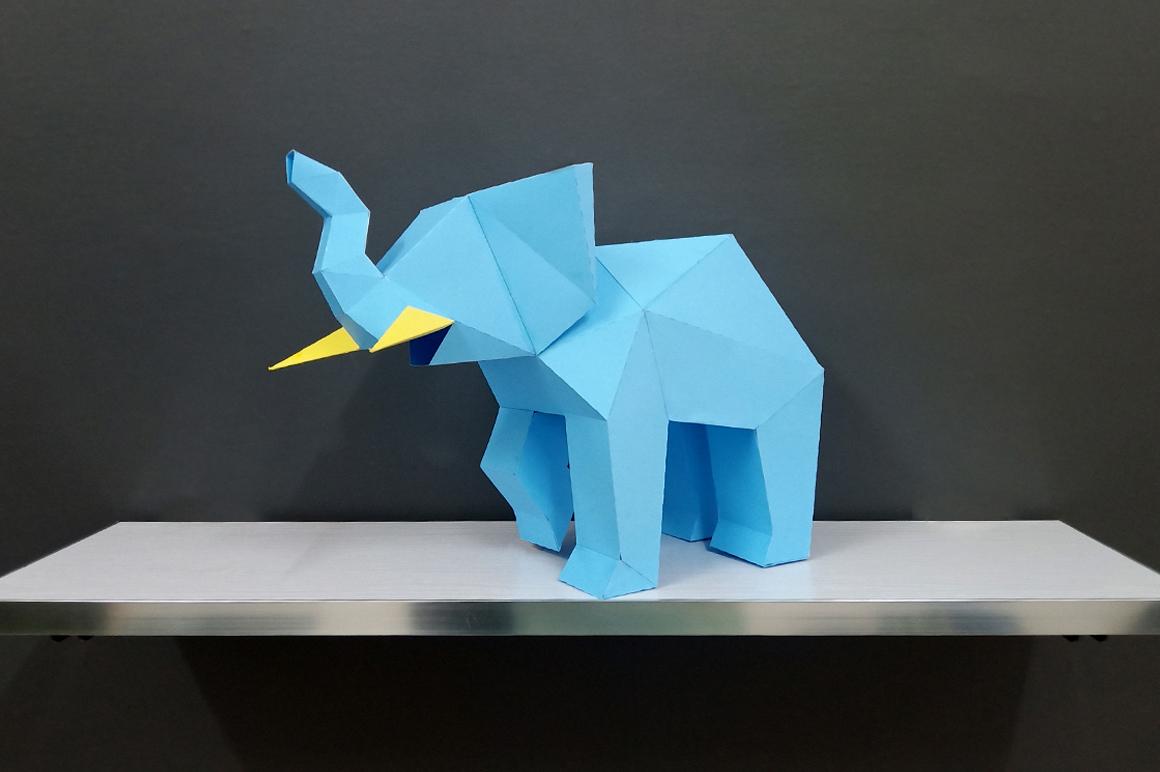 DIY Elephant Sculpture - 3d papercraft example image 8