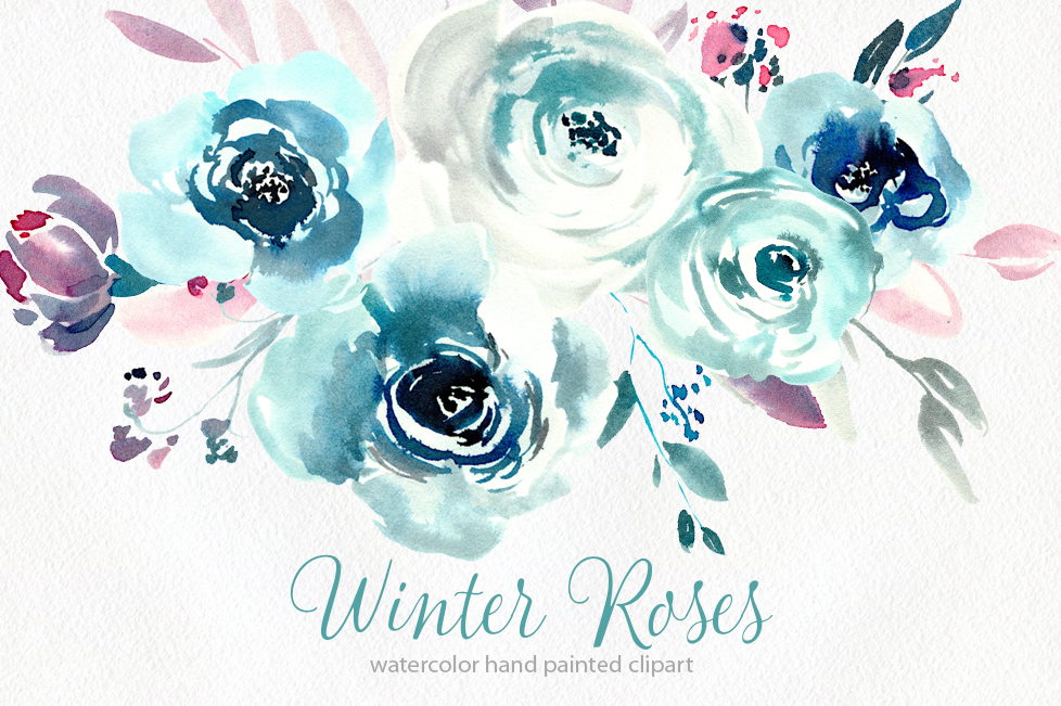 Watercolor blue winter roses PNG example image 1