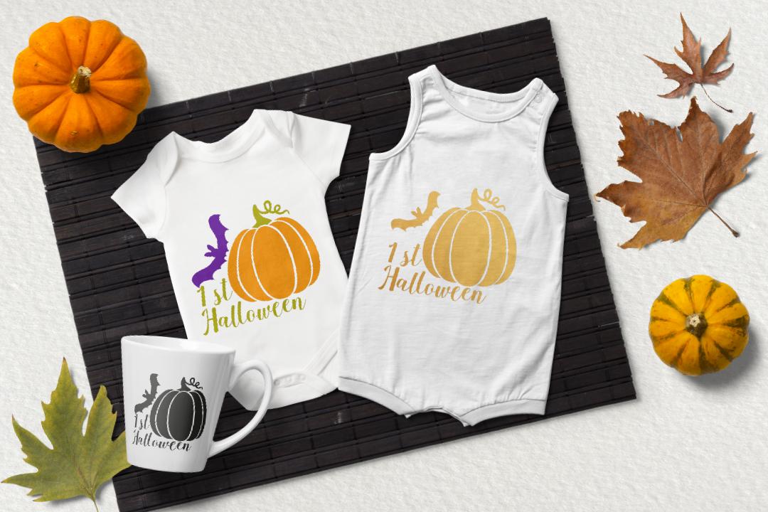 1st Halloween svg. Pumpkin and bat clipart example image 3