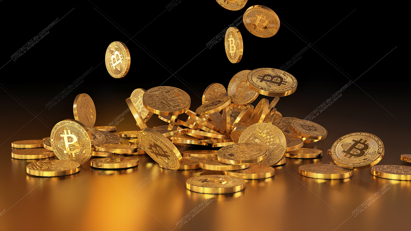 5  files - 3D rendering Bitcoins falling on a pile example image 4