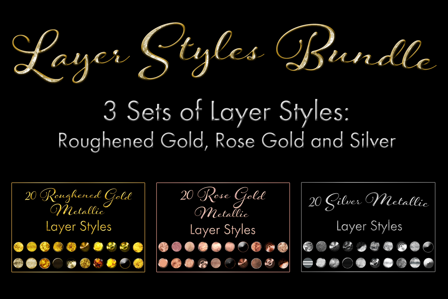 60 Layer Styles Bundle - Gold, Rose Gold and Silver example image 1