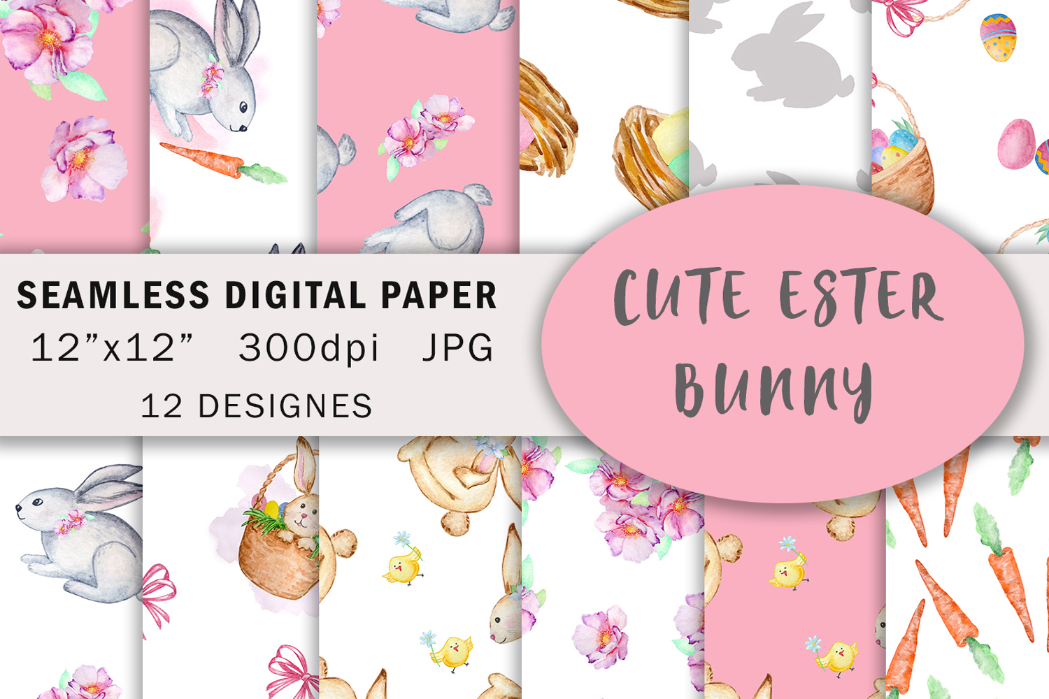 Watercolor Cute Bunny Seamless Paper Pattern example image 1