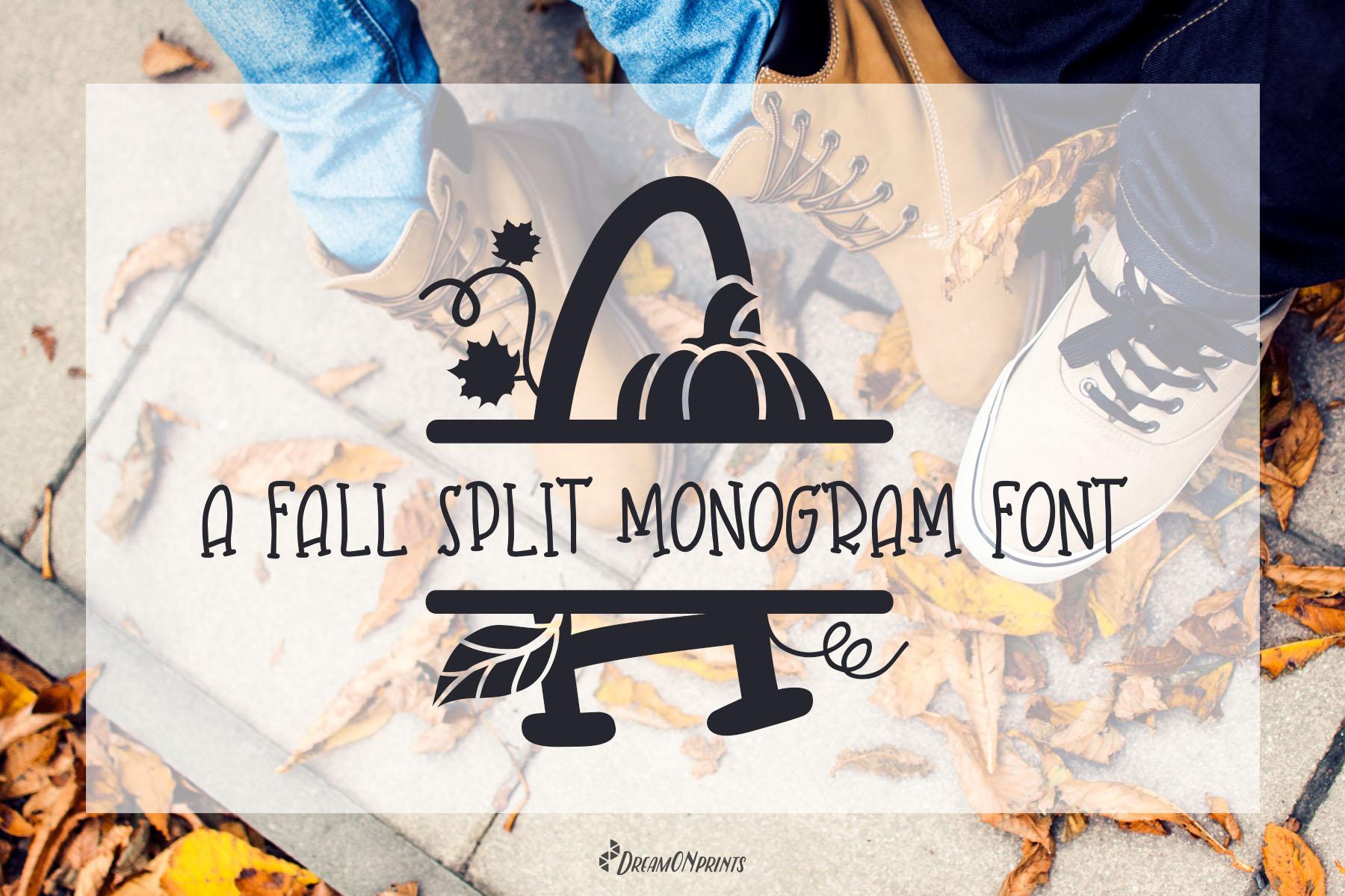 Fall Leaves - Split Monogram Font example image 1