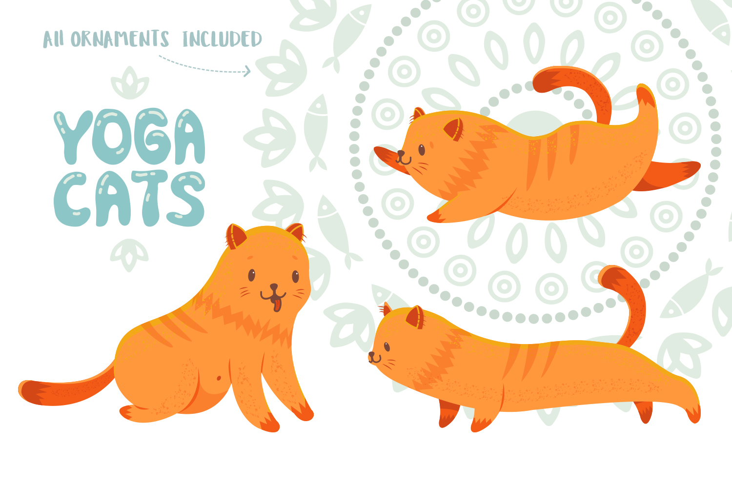 Yoga Cats Clipart Collection example image 4