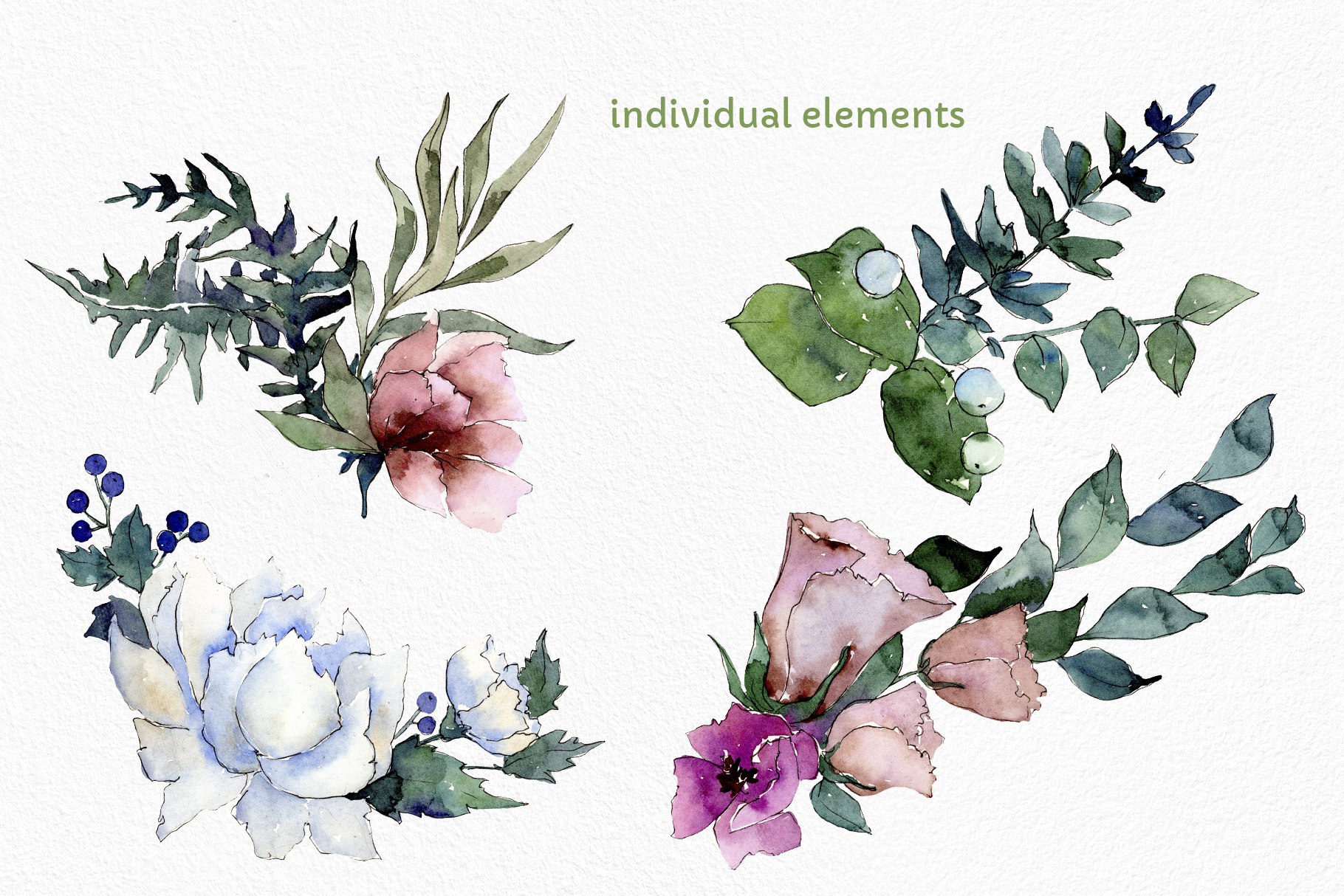 Autumn Flowers Bouquets Watercolor png example image 2