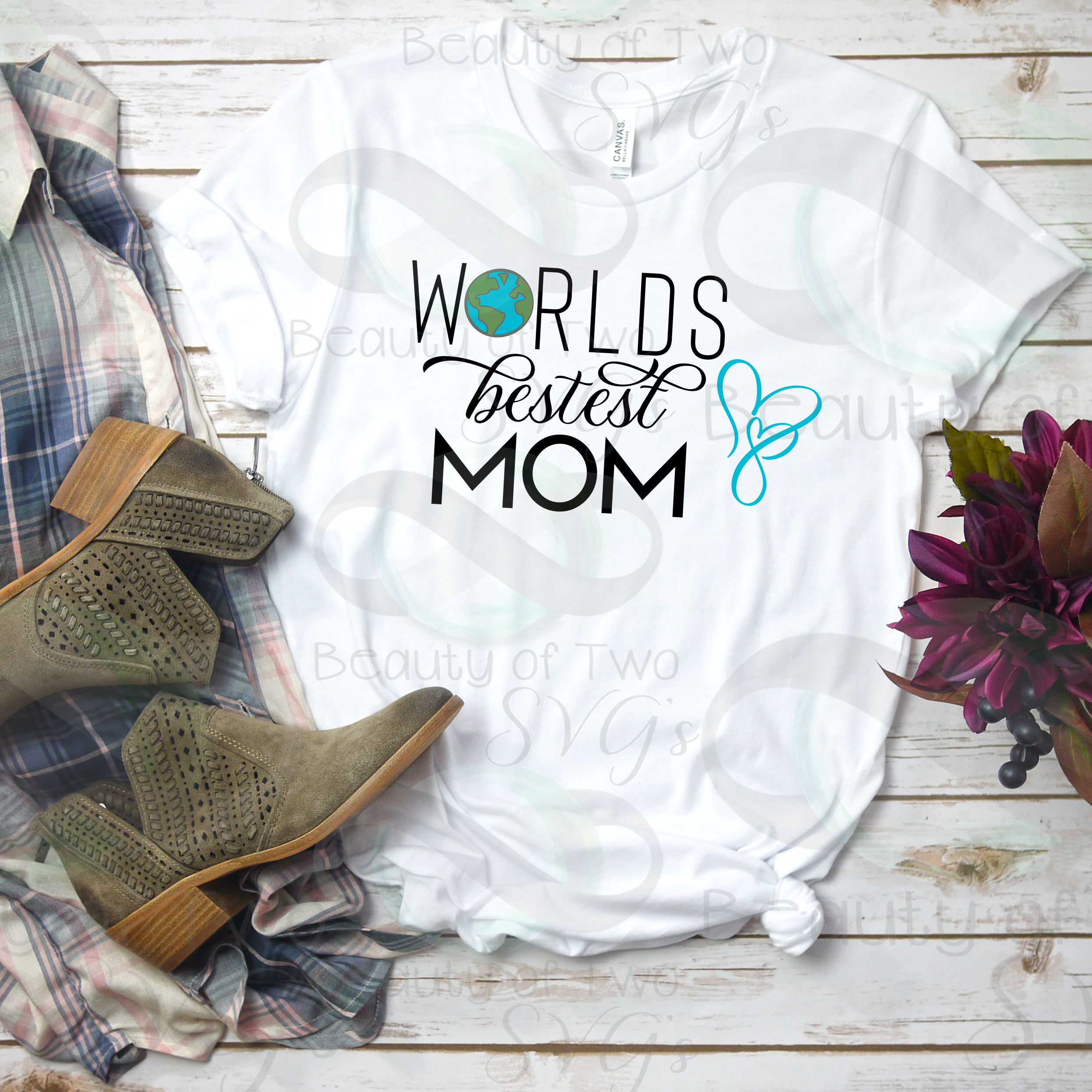 Mothers Day svg & png, Best Mom svg, Worlds Best Mom svg, example image 4