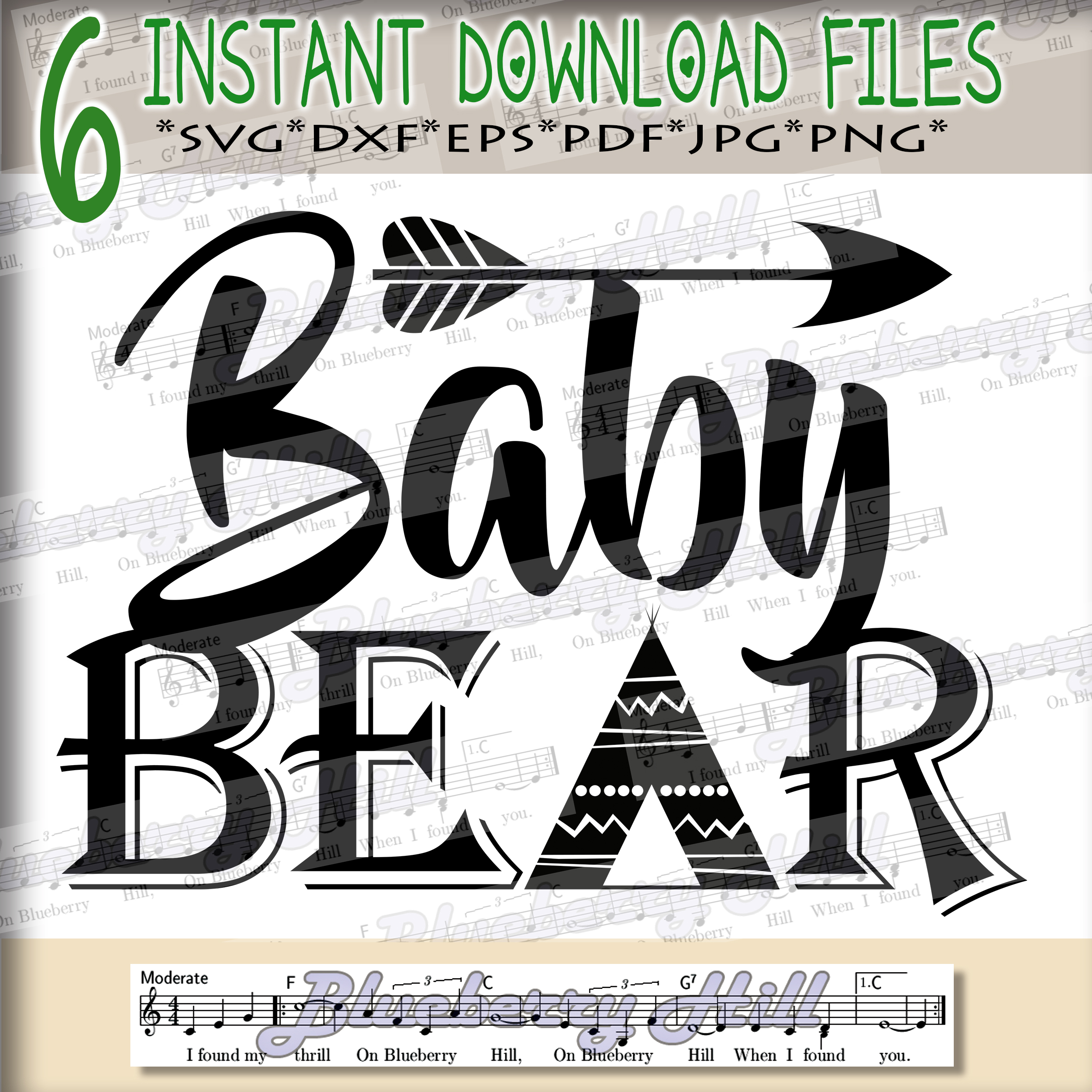 Baby bear SVG - Baby bear svg digital -Baby bear with Arrow example image 1