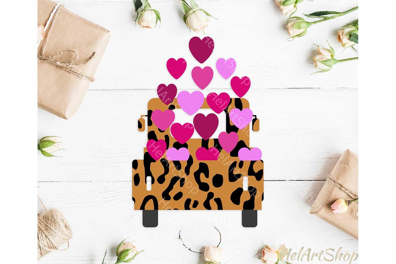 Valentines truck svg, heart truck svg, Leopard truck svg example image 1