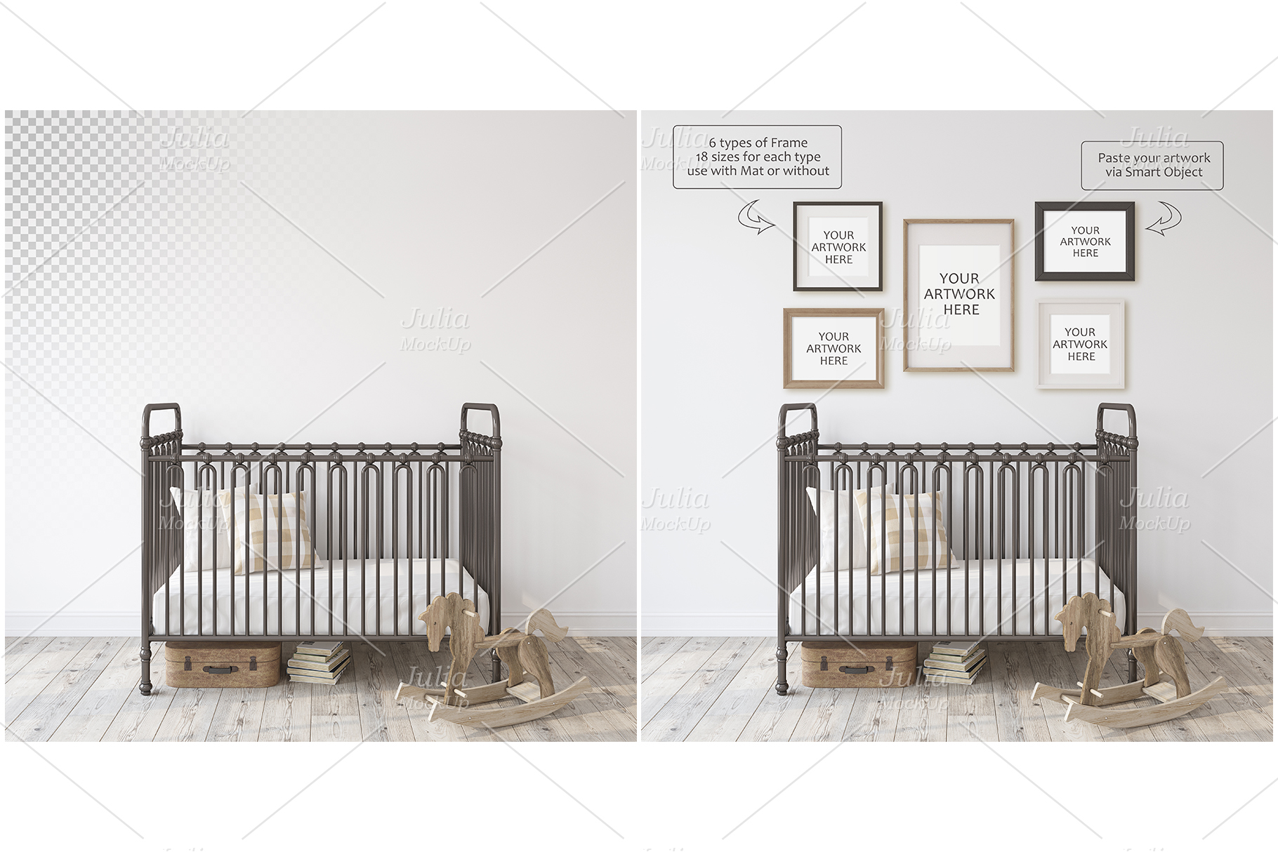 Metal crib. Wall&Frames Mockup. example image 4