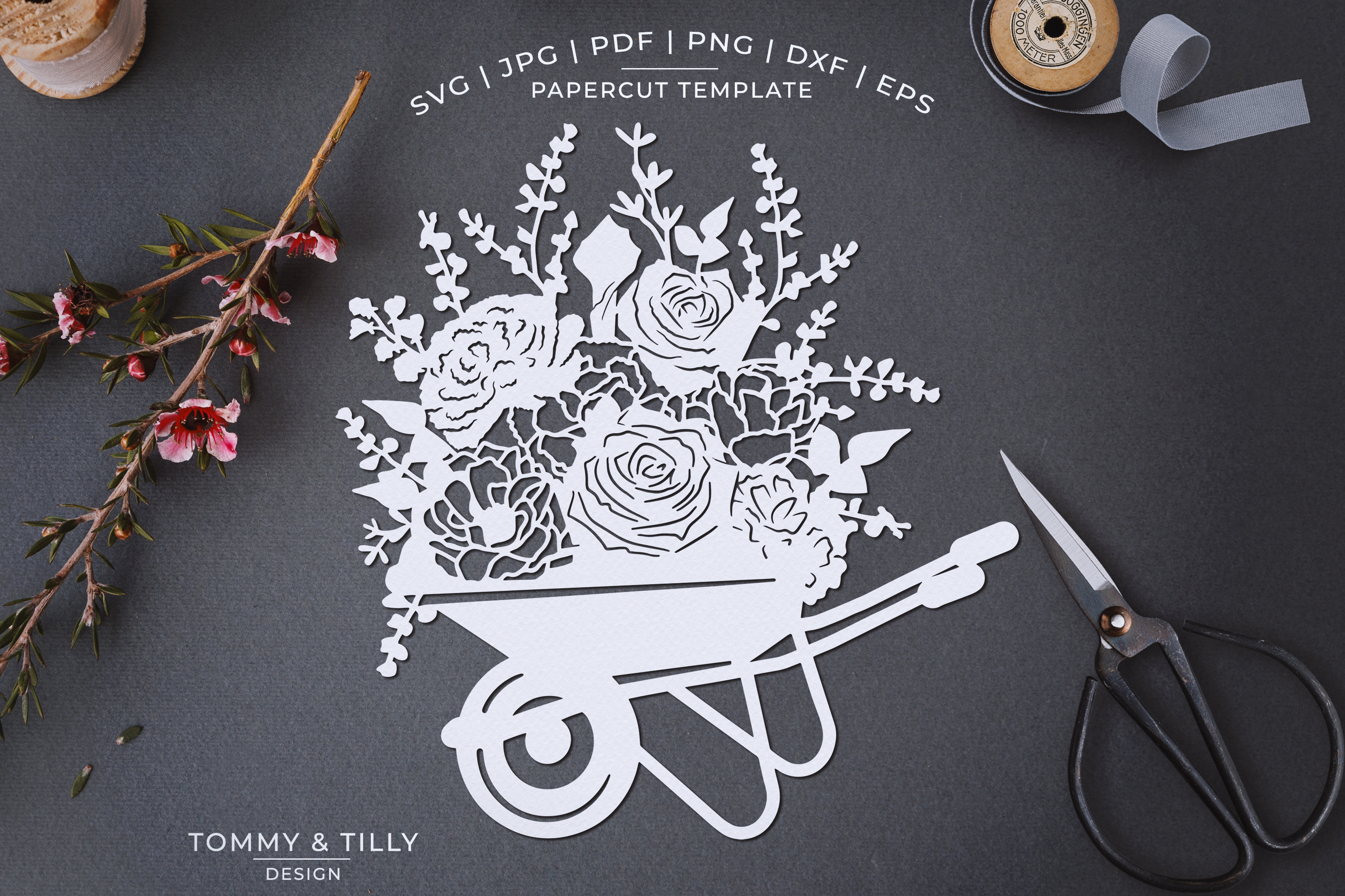 Romantic Floral Wheelbarrow - Papercut Template SVG JPG PNG example image 1