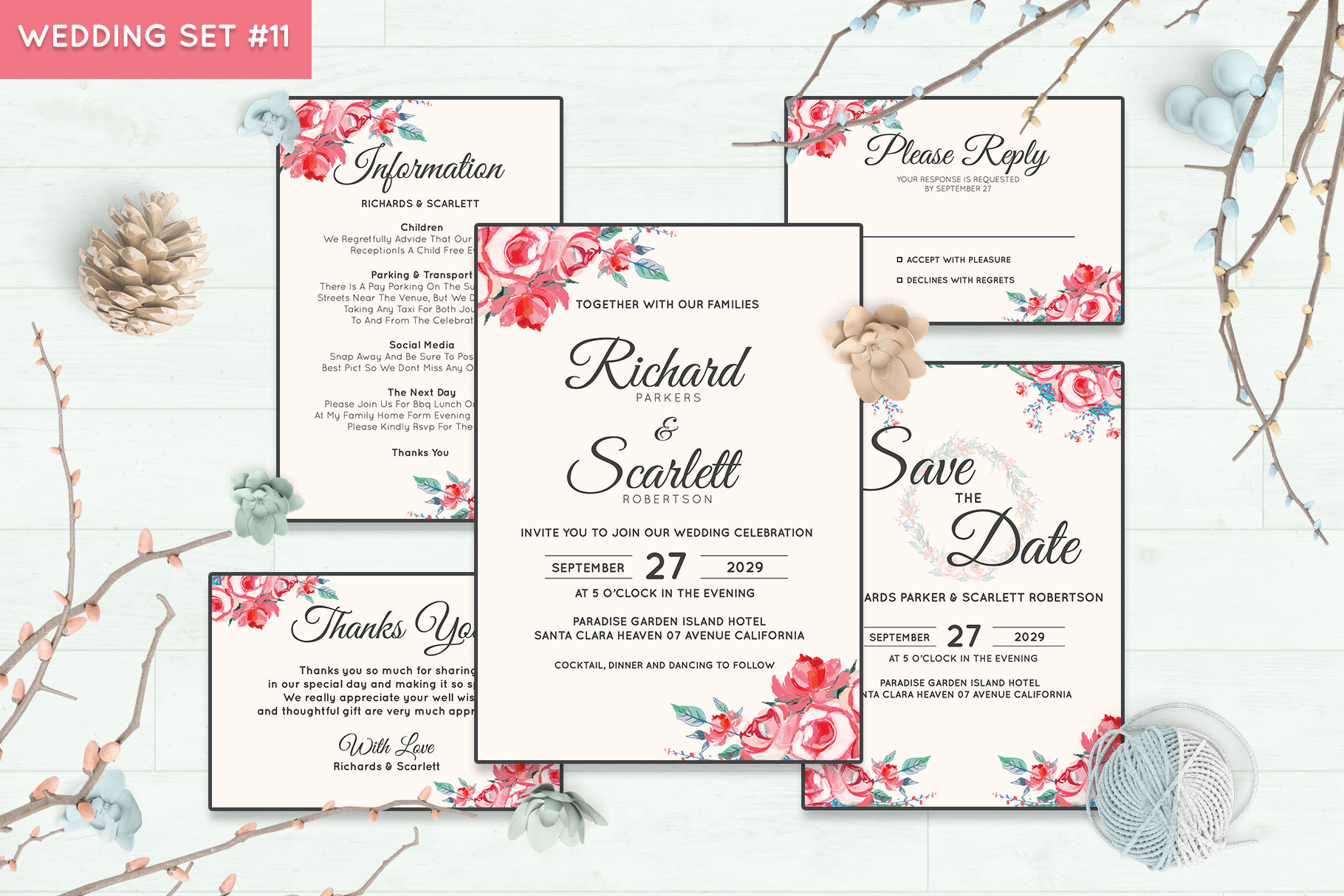 Wedding Invitation Set #11 Watercolor Floral Flower Style example image 1