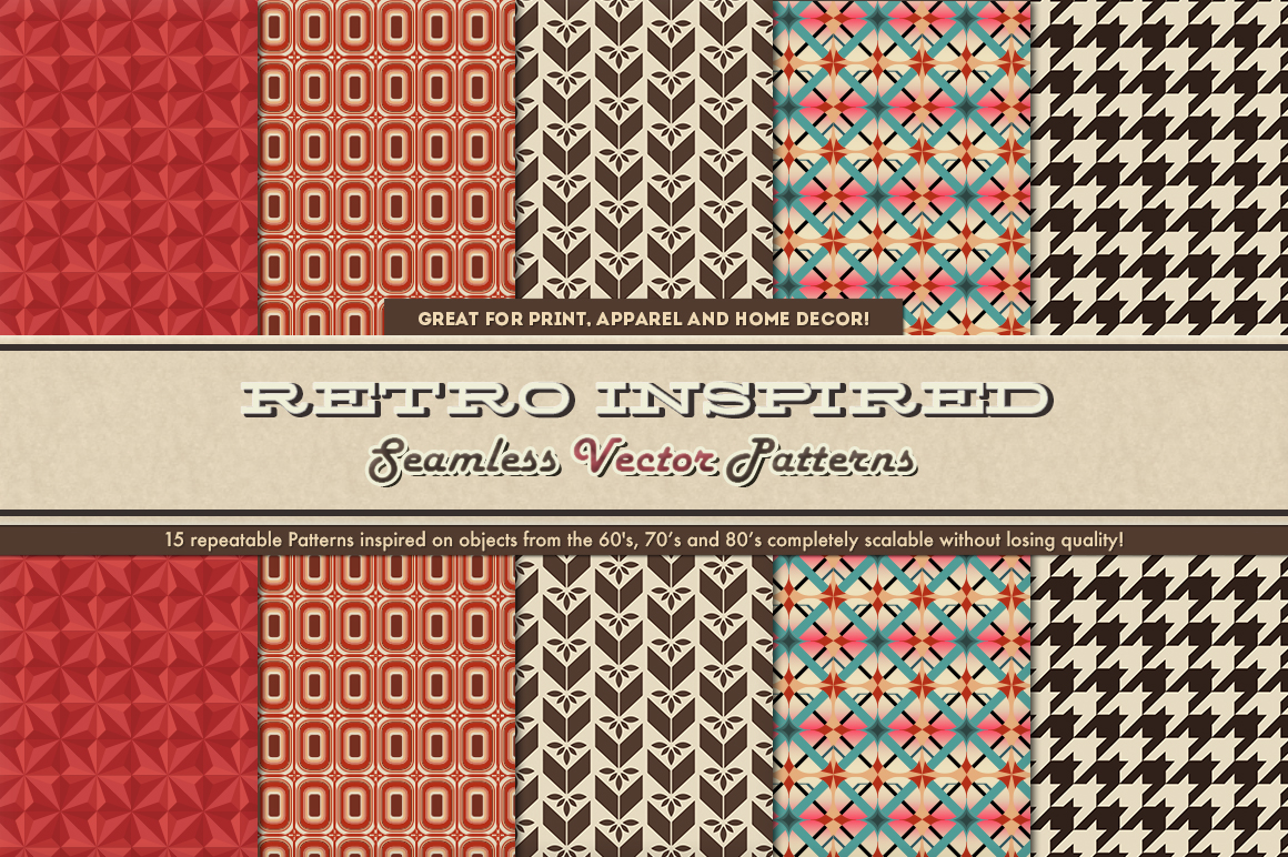 Retro Inspired Vector Patterns example image 5