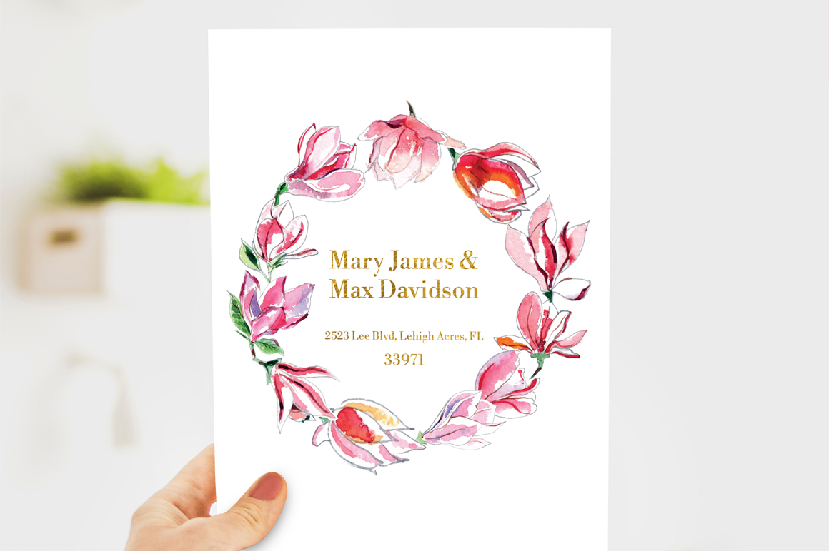 Watercolor wedding clipart example image 5