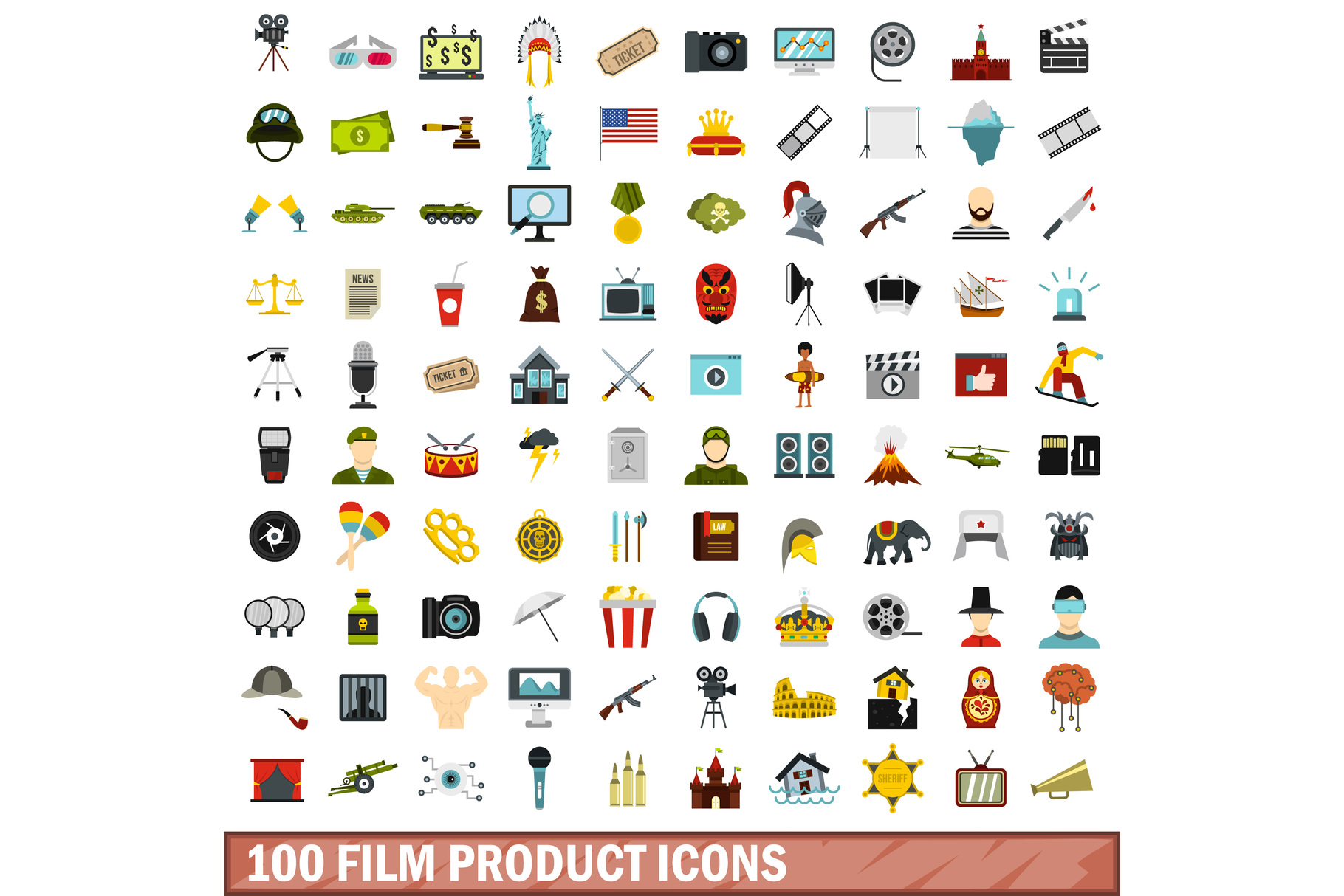 100 film product icons set, flat style example image 1
