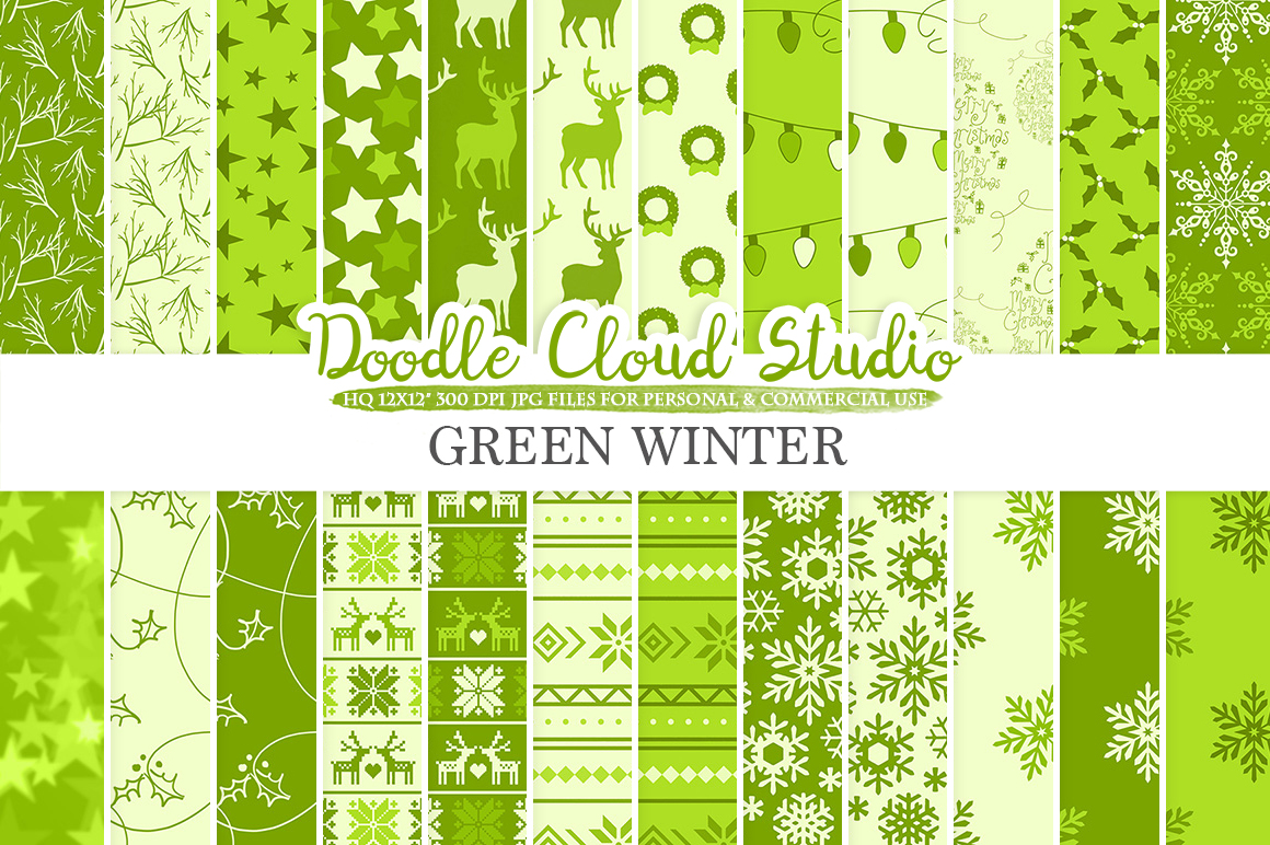 Green Winter digital paper, Christmas Holiday patterns, Stars Snow deers X-mas backgrounds, Instant Download, for Personal & Commercial Use example image 1