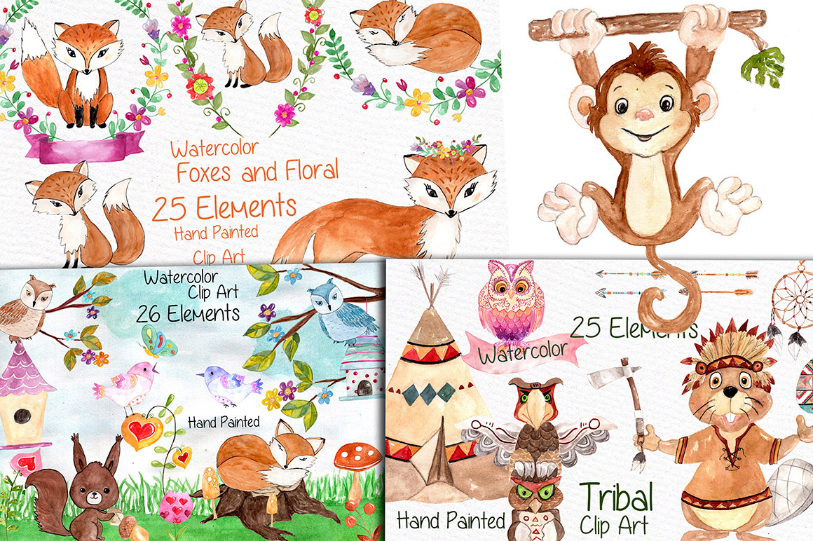 Watercolor Bundle-kids clipart example image 3