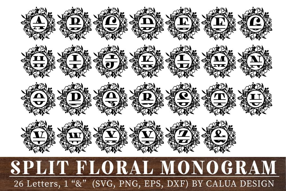 Split Floral Monogram Cut File Bundle example image 2