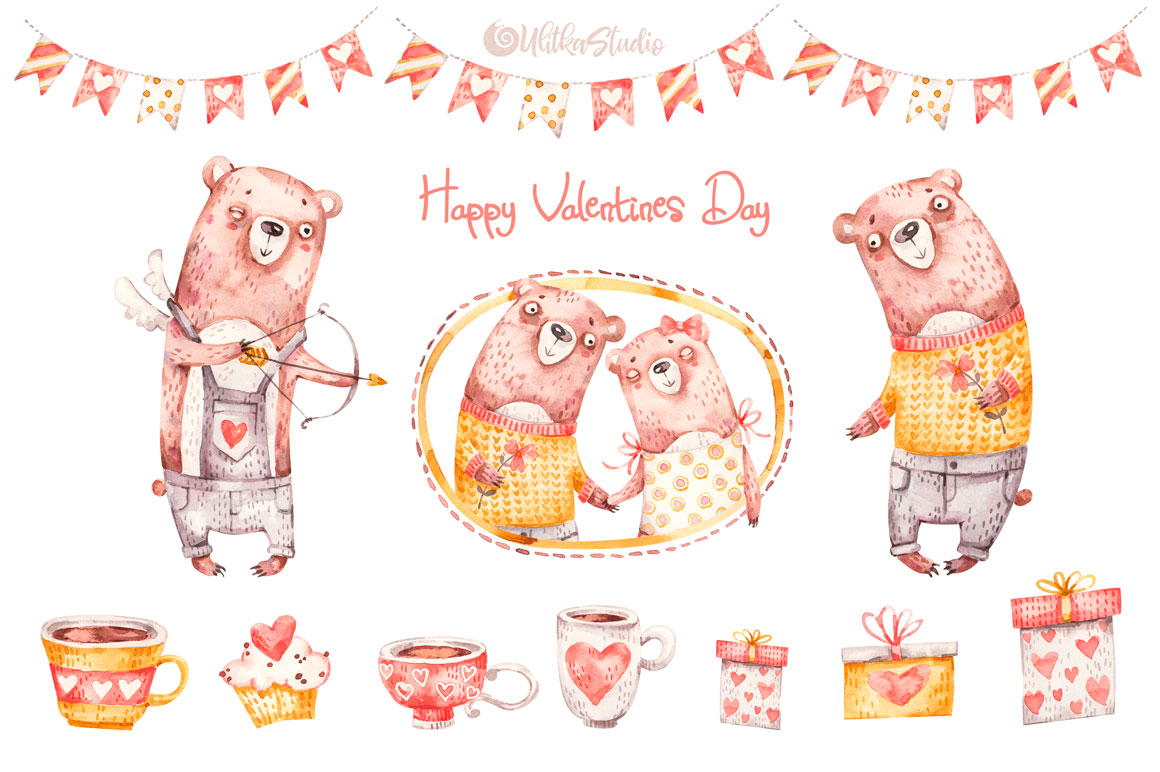 Cozy Valentines Day. Lovely bears watercolor collection example image 3