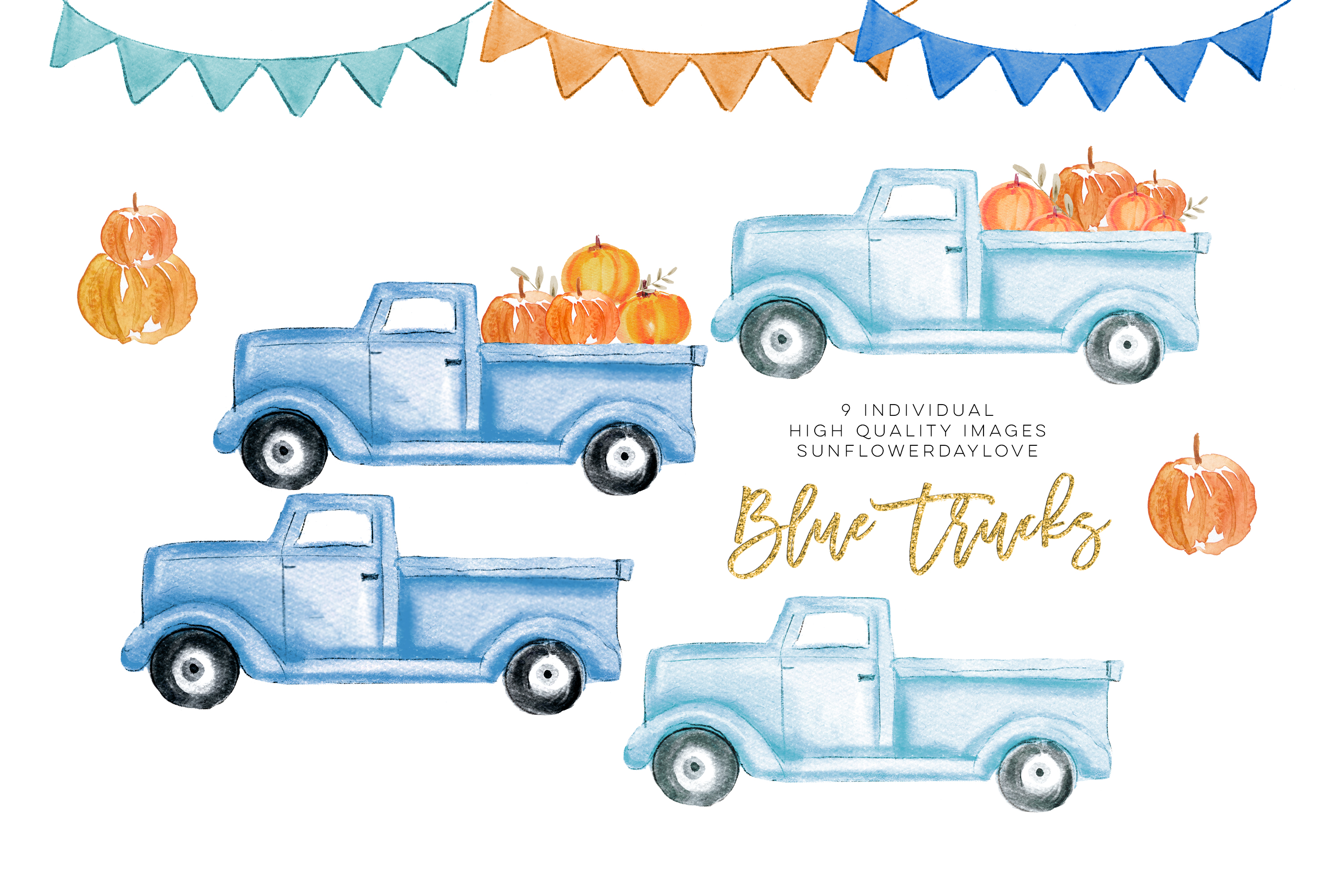 Fall Pumpkin Truck Clipart, Thanksgiving clipart example image 2