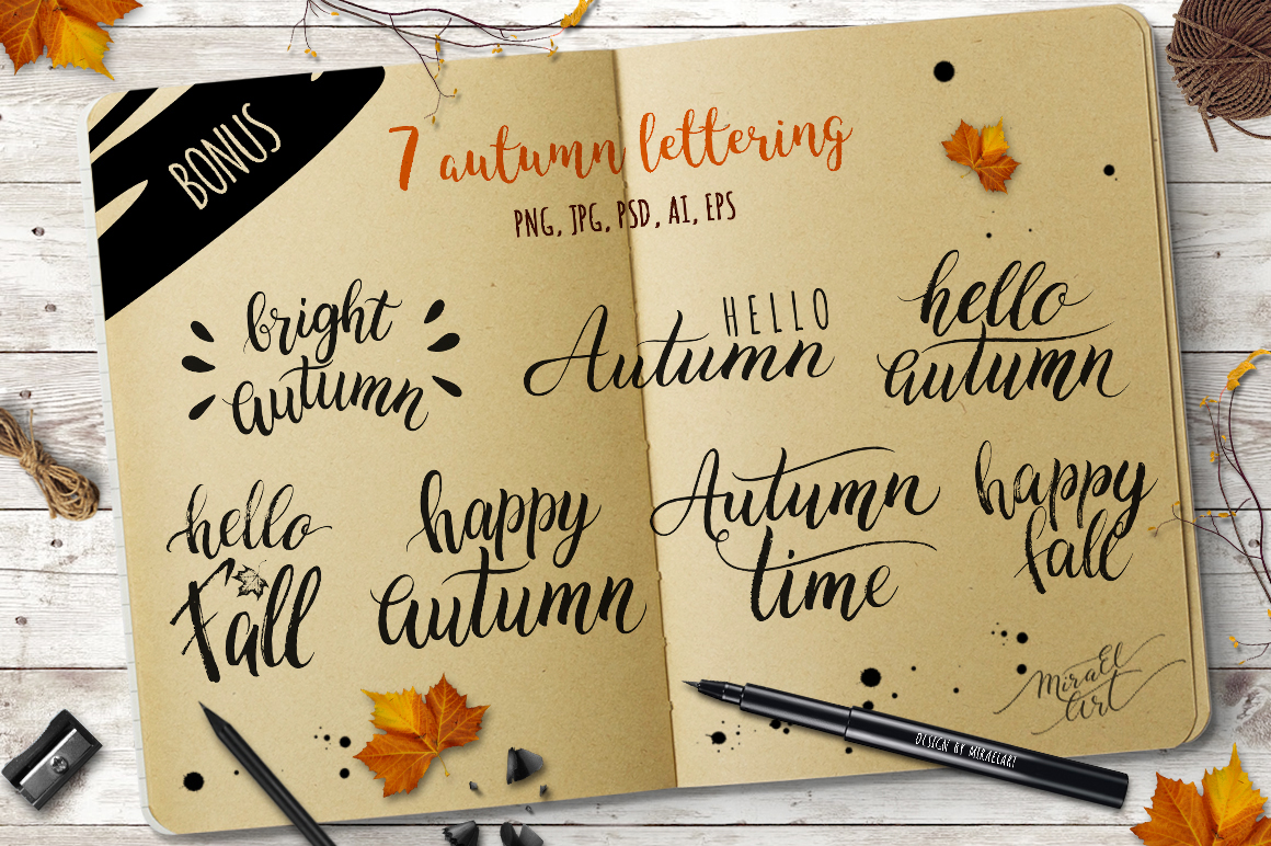 Watercolor autumn leaves example image 5