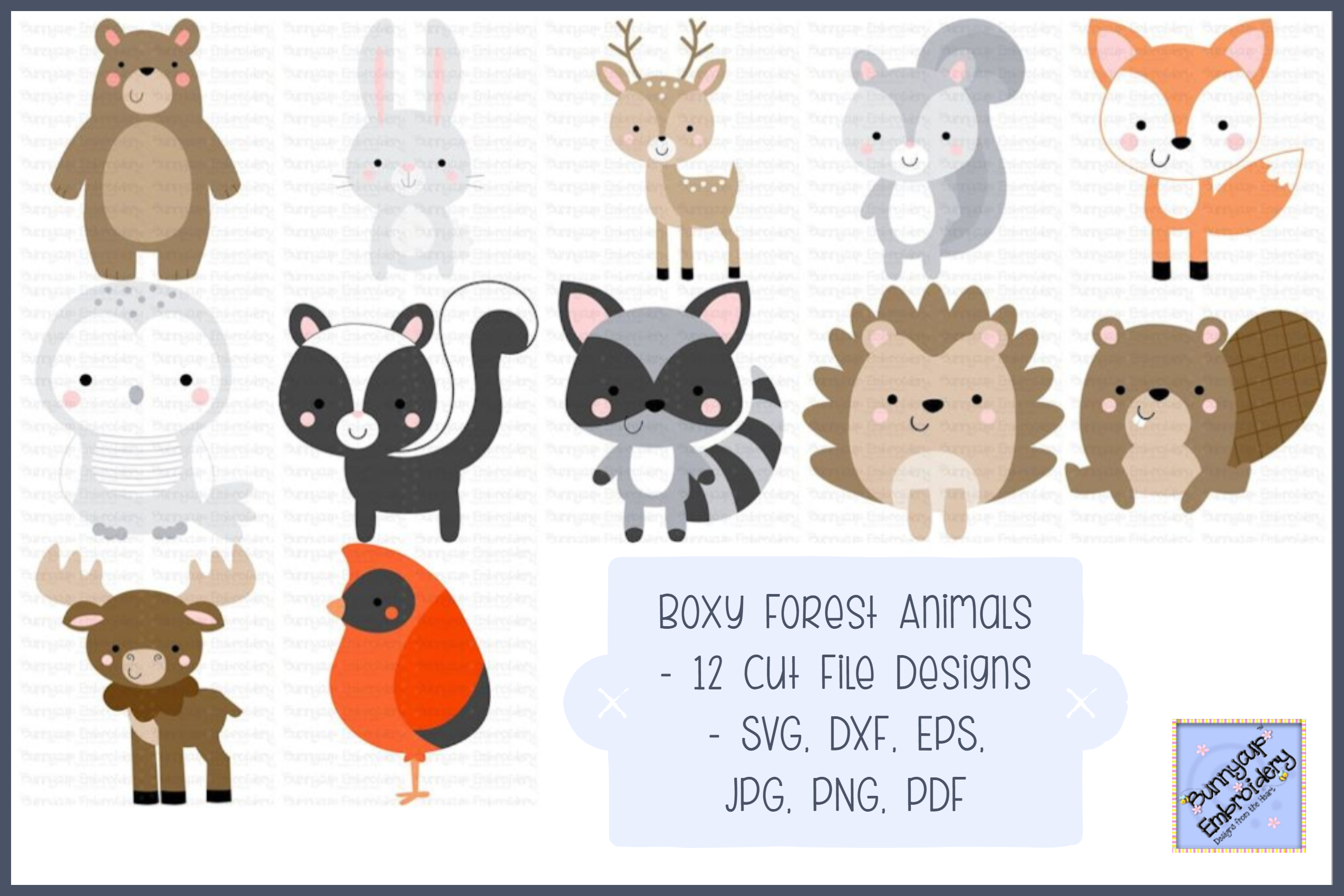 Boxy Forest Animals - SVG, Cut Files, Clipart, Printables example image 1