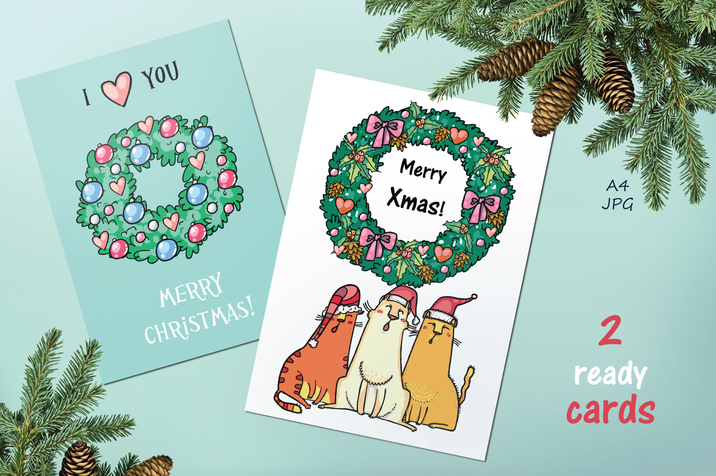 Xmas Cats clip-art, patterns, cards example image 8