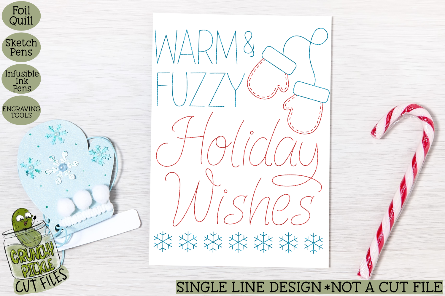 Foil Quill Christmas Card - Warm and Fuzzy / Single Line Ske example image 1