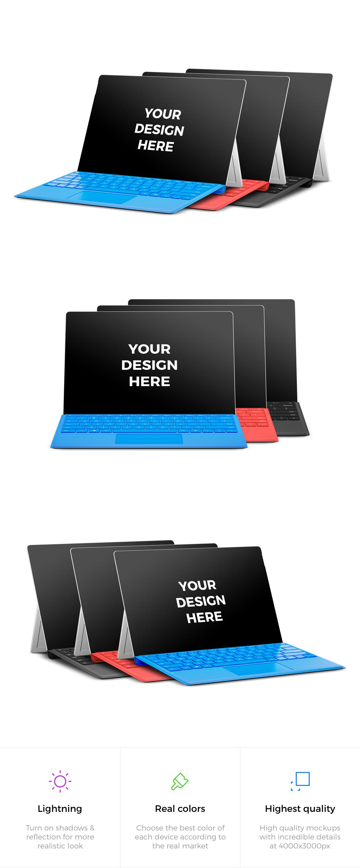 9x Microsoft Surface Pro 4 Mockups example image 2