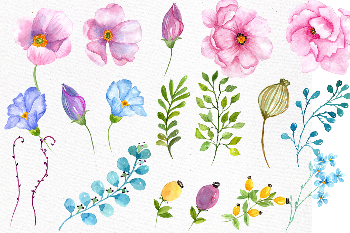 Watercolor pink  flowers clipart example image 3