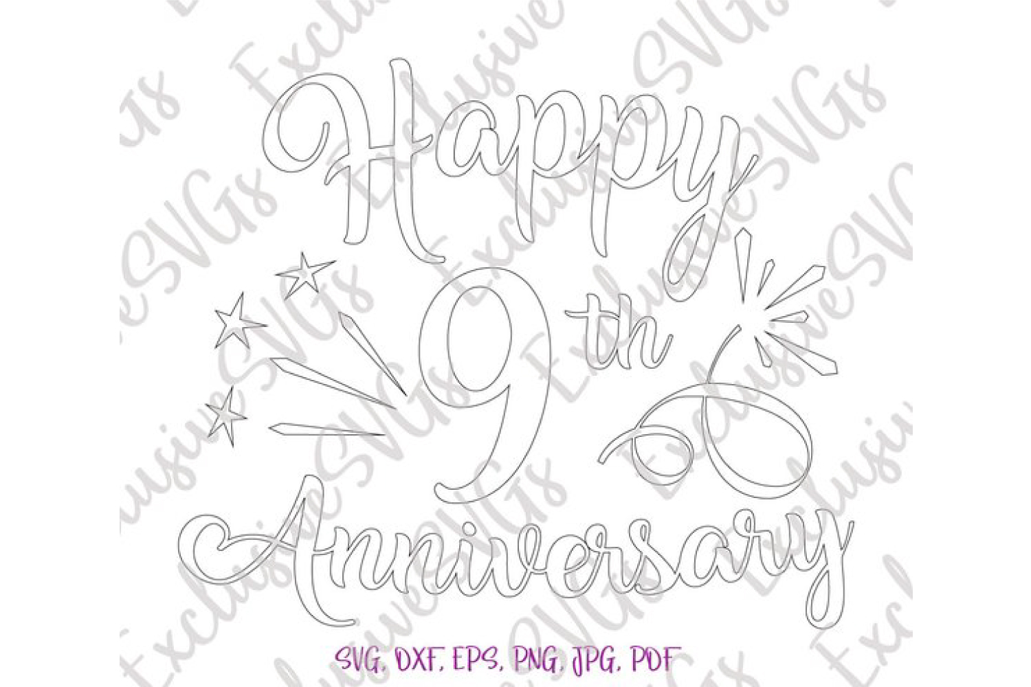 Happy 9th Anniversary Nine Year Pottery Copper Wedding Sign example image 5