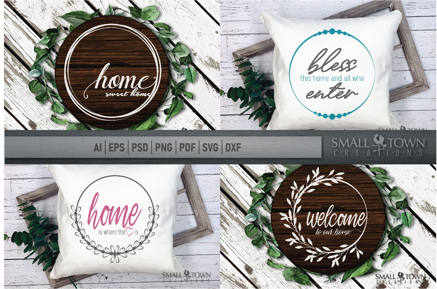 Home, Welcome, Blessed, Wreath, PRINT, CUT & DESIGN example image 1