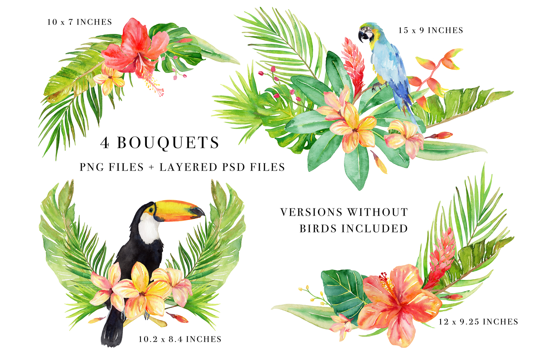 Tropical Botanicals Watercolor Set example image 3