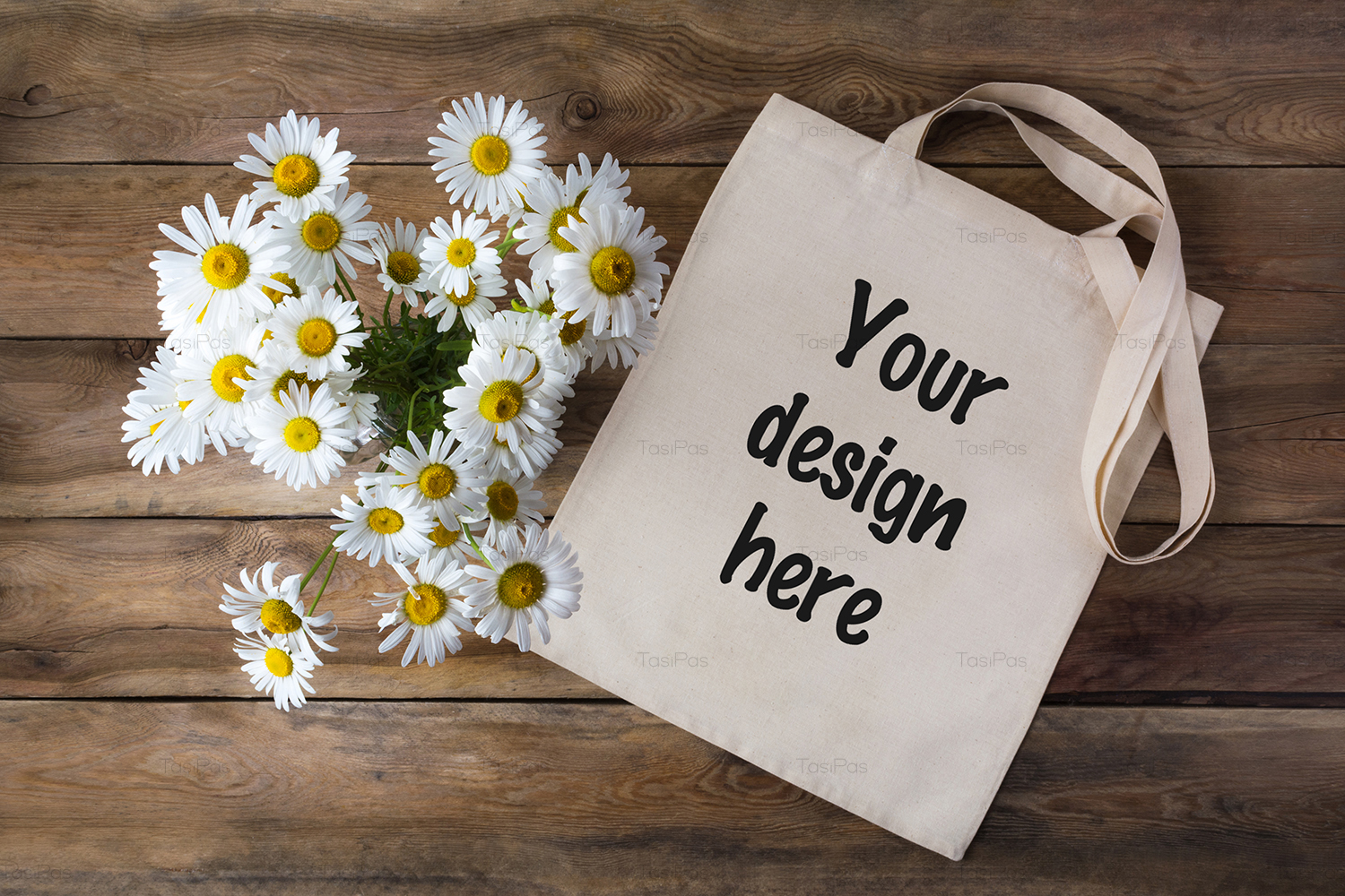 Rustic tote bag mockup with daisy example image 4